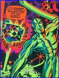 1971 Vintage ORIGINAL Marvel Third Eye Black Light Poster Silver Surfer I'm Free