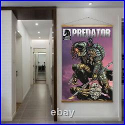 90cm x 140cm Predator Comic Book Style Retro Canvas Movie Poster Artwork Yautja