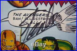 AVENGERS #1 cover poster signed by STAN LEE & DICK AYERS. Ltd to 100. Matted