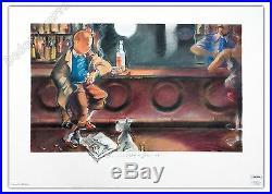 Affiche Esteve Fort Hommage Tintin au bar 50x70 cm