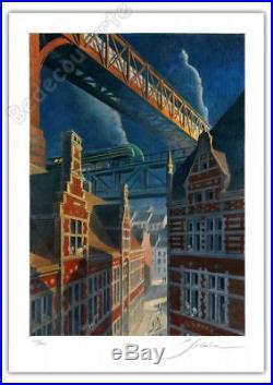 Affiche François SCHUITEN La Type 12 sur le pont 200ex signée 50x70 cm