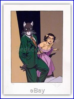 Affiche Serigraphie BD GUARNIDO Blacksad Costume vert 99ex-s 50x67