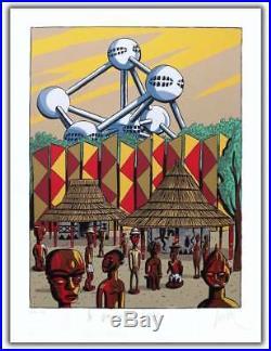 Affiche Serigraphie BD LOUSTAL Atomium gravillou 199ex-s 60x80
