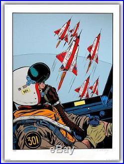 Affiche Serigraphie BD WEINBERG Dan Cooper Cockpit Avion 99ex-s 60x80
