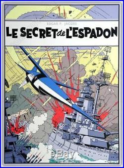 Affiche Sérigraphie Jacobs Blake et Mortimer Le Secret de l'Espadon 71,5x98,5