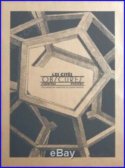 Affiche Sérigraphie Schuiten Durieux Cités Obscures Brüsel 100 ex signée 60x80