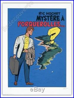 Affiche Sérigraphie Tibet Ric Hochet Mystère à Porquerolles num signée 60x80