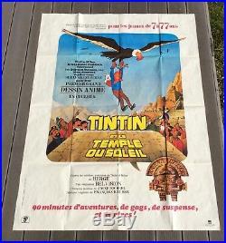 Affiche originale Tintin le temple du soleil 1969