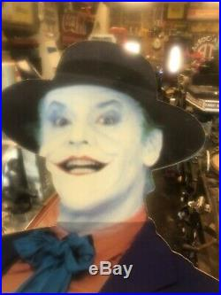 Batman The Movie 1989 Joker Cardboard Cutout Jack Nicholson Store Sign Display