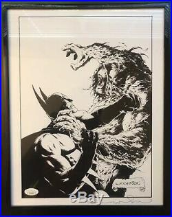 Bernie Wrightson SIGNED DC Comics Art Print Batman VS Swamp Thing! JSA Cert