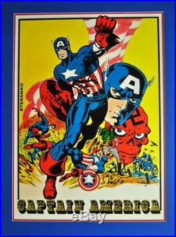 CAPTAIN AMERICA MATTED POSTER MARVELMANIA 1970 Red Skull Jim Steranko art Rare