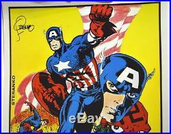 CAPTAIN AMERICA POSTER MARVELMANIA 1970 HAND SIGNED artist Jim Steranko JSA Cert
