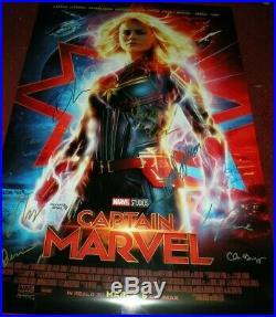 Captain Marvel Cast Signed Ds Movie Poster Marvel Comic Avengers Ms