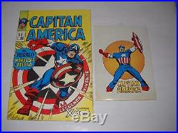 Capitan America N. 1 Poster Manifesto E Adesivi 1973 Corno Marvel Perfetto