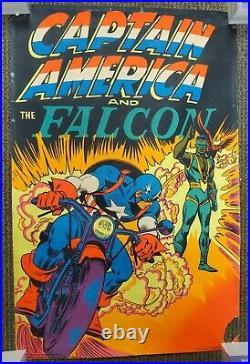 Captain America & Falcon Black Light Poster Third Eye/marvel 1971