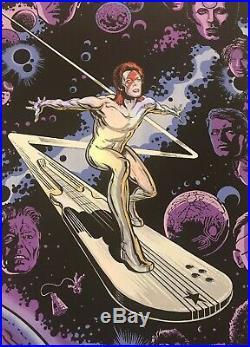 DAVID BOWIE Silver Starman Surfer ART Poster Print Emek & Gan HAND SIGNED MARVEL