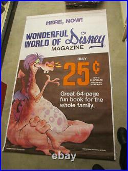 DISNEY Sword in the Stone DRAGON 1968 Gulf Gas 6' store sign poster comic book E
