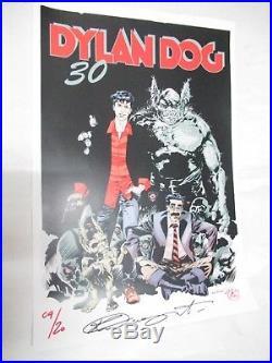 Dylan Dog Stampa Poster 30 Anni Insieme 33x48 Numerata Firmata N. # 4 / 20pz Rare