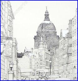 Estampe Pigmentaire Juillard Blake et Mortimer Londres 99ex signée 40x70 cm