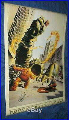 FANTASTIC FOUR #1 Vintage Poster SIGNED by STAN LEE Alex Ross Art / Thing
