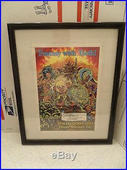 Framed Elfquest 1993 15th Anniversary Tour dual singed promo poster Ultra Rare