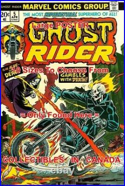 GHOST RIDER 1974 Motorcycle FIRE Roulette = POSTER Comic Book 18 4.5 FEET