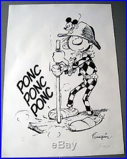 Gaston Arlequin Franquin Poster Signe Numerote Tl Superbe
