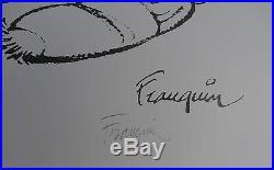 Gaston Arlequin n/900 Signé Par Franquin 50X70 Parfait état (marouflé)