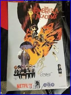 Gerard Way Gabriel Ba signed auto autographed Umbrella Academy 2017 SDCC poster