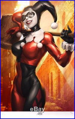 HAND SIGNED Sideshow Exclusive Batman Harley Quinn Art Print Stanley Artgerm Lau