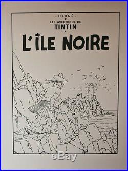 HERGÉ L'ÎLE NOIRE UNE DES VINGT DEUX COUVERTURES NOIR et BLANC RARE