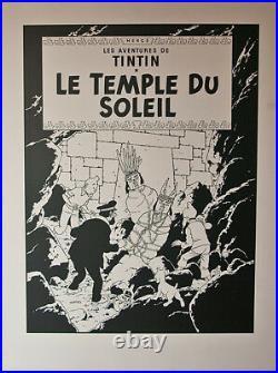 HERGÉ LE TEMPLE DU SOLEIL UNE DES VINGT DEUX COUVERTURES NOIR et BLANC