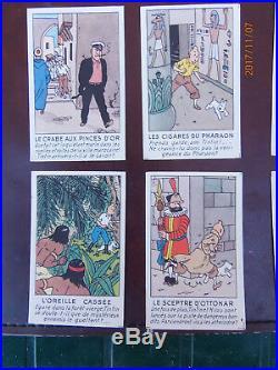 Hergé- Série complète de 12 images publicitaires pour les albums Tintin 1949 TBE