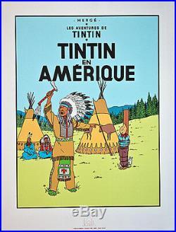 Hergé Tintin En Amérique Sérigraphie Une Des Vingt Deux Couvertures 1987