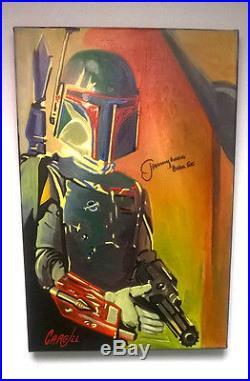 JEREMY BULLOCH Signed Boba Fett Star Wars Canvas Art 12x18 Cargill Painting b