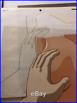 Japanese Animation Cel La Blue Girl Hand Painted 1990s + Original Sketch 2 Total