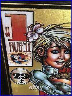 Japanese Comic Book Power Girl Oil Paint On Canvas Artist James 4032 Rare