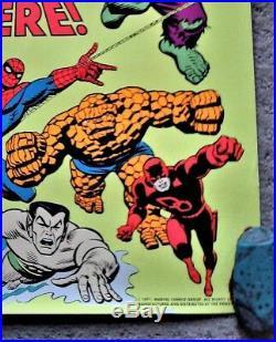 MARVEL SUPER HEROES ARE HERE (1971) 3rd Eye Black Light Poster Brilliant Color
