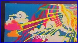 MOUNTAIN MORNING 1971 VINTAGE BLACKLIGHT POSTER THE THIRD EYE By Roberta Ehrlich