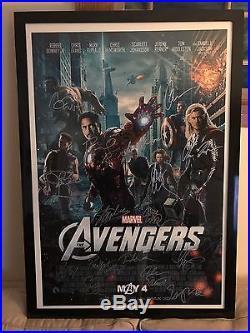 Marvel Avengers 27x40 Framed Print Poster Signed 17x & Stan Lee Joss Whedon COA