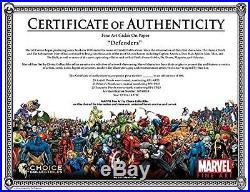 Marvel Defenders Signed by Stan Lee on Fine Art Paper Framed