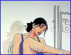 Milo MANARA La robe bleue LITHOGRAPHIE érotique signée, épreuve d'artiste