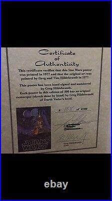 Mint HILDEBRANDT STAR WARS NEW HOPE POSTER #158/300 Vader Head Sketch & Signed