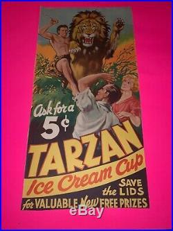 Original 1934 Tarzan Ice Cream Cup Advertising Poster