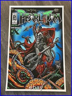 Pearl Jam Copenhagen Comic Book Medieval Spawn AP S/N poster Todd Mcfarlane