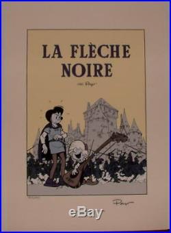 Peyo serigraphie Johan Pirlouit Fleche Noire 250 ex signe
