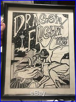 Phil foglio original hand drawing for dragonflight convention poster