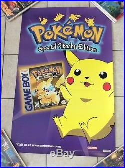 Pokemon Yellow Poster Pikachu Gameboy Exclusive Nintento Store Display Only NFR