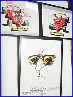 Poster Manifesto Dino Ferrari Magnus Corno Gadget 1979 Serie Completa DI 3 Pezzi
