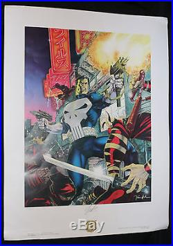 Punisher A Bad Night For Ninjas Lithograph 1989 Signed by Stan Lee and Jim Lee